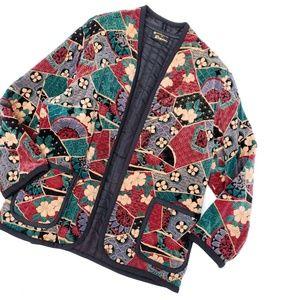 Vintage Raspini Velvet Pattern Floral Open Jacket